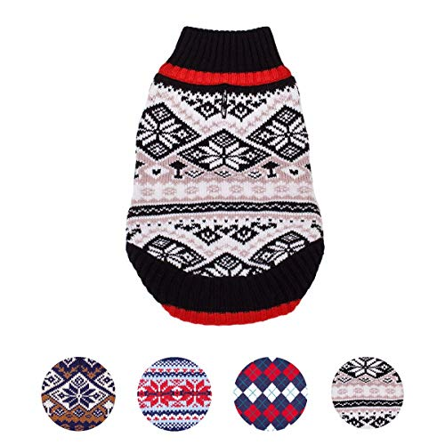 Blueberry Pet Nordic Pattern Inspired Fair Isle Black and White Snowflakes Dog Sweater, Back Length 20, Pack of 1 Clothes for Dogs