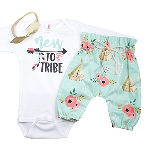 New To The Tribe Baby Take Home Outfit High Waisted Teepee Pants Tribal Coming Home Set 3 Piece Set with Headband Mint 0-3 Long Sleeve