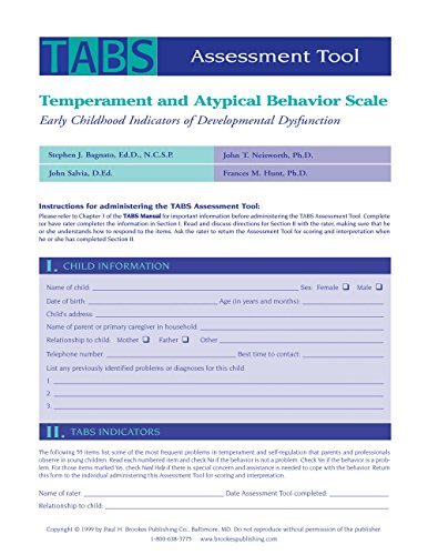Temperament and Atypical Behavior Scale (TABS) Assessment Tool: Early Childhood Indicators of Developmental Dysfunction