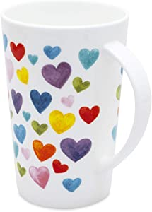 Cute Mugs Colorful Heart Shaped Coffee Mug, 400ml Fine Bone China Heart Mugs Perfect Birthday Gifts Christmas Mugs for Women Mom Friends Coworker Boss