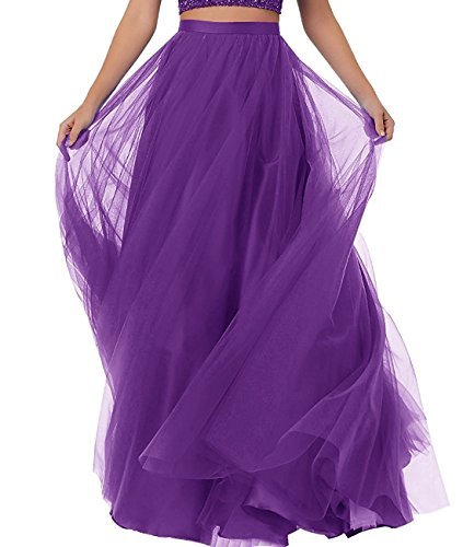 Duraplast Women's Prom Long Skirt Plus Size Tutu Skirt Formal Purple