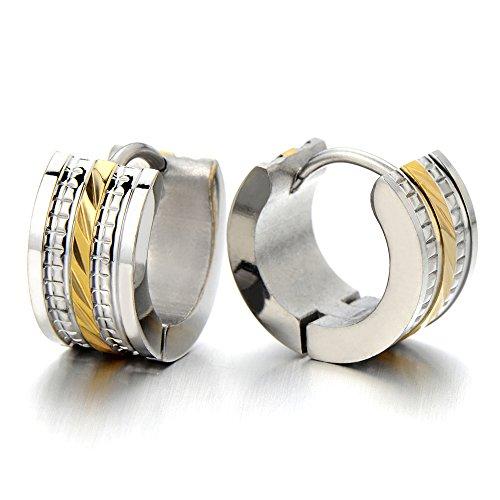 Huggie Hinged Earrings Silver Two tone