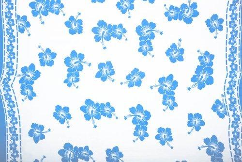 1 World Sarongs Pareo para Mujer con Estampado Floral Polinesio - Blanco/Azul