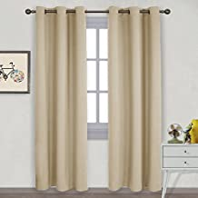 NICETOWN Eyelet Blackout Curtain Panels - Thermal Insulated Solid Drape / Rideau for Bedroom (2 Panels, W42 x L84 -Inch,Warm Beige)