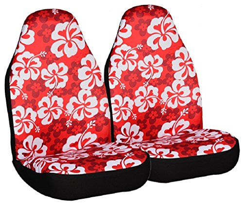 (Allison 67-0346RED Red Hawaiian Print Universal Bucket Seat Cover - Pack of 2)