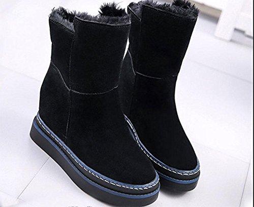 MEILI Botas de mujer, zapatos de mujer, suela gruesa, botas de nieve, aumentadas en el interior, zapatos de algodón, cálido, además de cachemira, botas cortas, botas en el tubo, moda, casual US6 / EU36 / UK4 / CN36