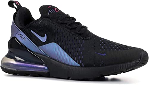 Nike Men's Air Max 270 BlackLaser FuchsiaRegency Purple Mesh Running Shoes 11.5 M US