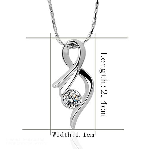 Jewelry Zircon Pendant Necklace Platinum Plated AmaranTeen