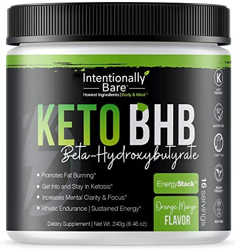 Keto BHB Salts for Easy Ketosis – Caffeine Free Energy, Pre-Workout, Mental Clarity – Beta-Hydroxybutyrate, Exogenous Ketones Supplement – Formulated for Fat Burn – Orange Mango, 16 Servings