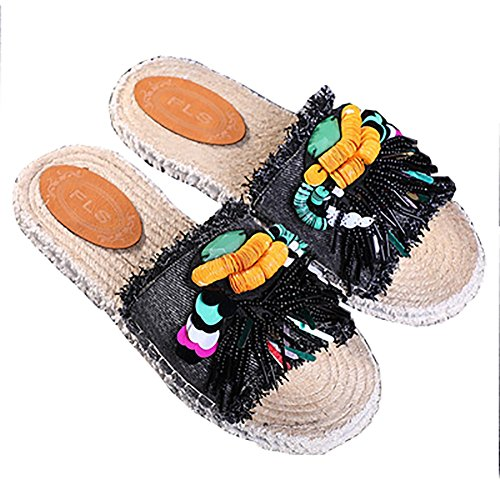 ZAPATOS Estilo étnico Jean Slipper Sandal Flat Summer Slipper Estudiantes / Mujeres Diseño Creativo Shiny Earrings ( Color...