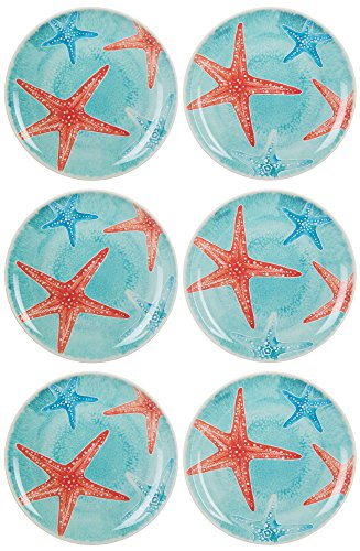 Coastal Home 6-pc. Starfish Appetizer Plates One Size Caddy blue