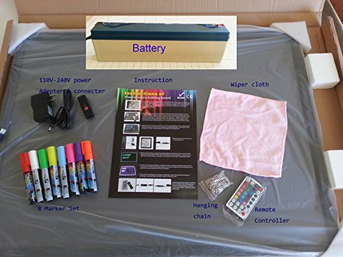 LED Illuminated Erasable Message Writing Board 7 Colors and 48 Flashing Modes with Marker Set and Other Accessories (24