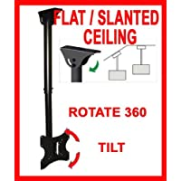 Ceiling TV Mouunt Bracket For Flat Slanted Or Vaulted Ceiling LCD LED PLASMA 24 26 30 32 36 37 40 TILT SWIVEL ROTATE
