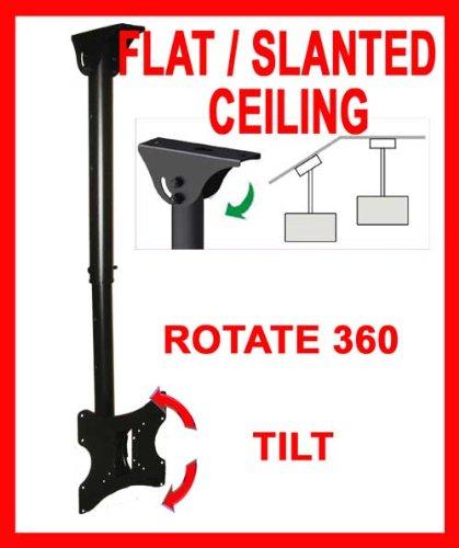 Ceiling TV Mouunt Bracket For Flat Slanted Or Vaulted Ceiling LCD LED PLASMA 24 26 30 32 36 37 40 TILT SWIVEL ROTATE (40inch Tv Ceiling Mount)