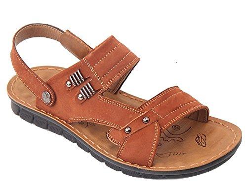 Bininbox Mens Garçons En Cuir Sandales Sports De Plein Air Plage Glissière Occasionnelle Sur Chaussures Marron