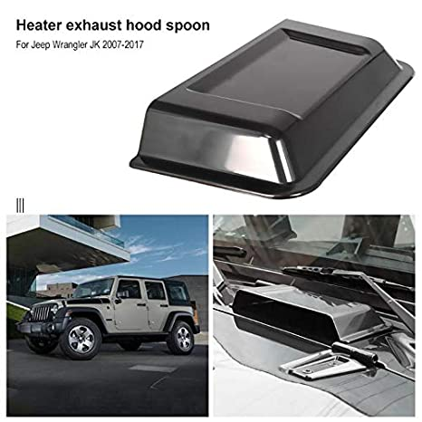 u-Box Black Hood Cowl Heater Air Vent Scoop for 1998-2018 TJ JK Jeep Wrangler