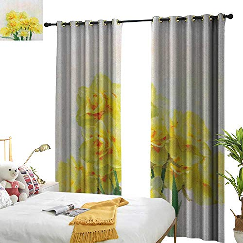 WinfreyDecor Insulated Sunshade Curtain Daffodil Digital Watercolors Paint of Daffodils Bouquet Called Jonquils in England Lily Darkening and Thermal Insulating W120 x L84 Yellow ()