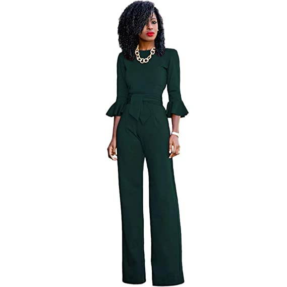 71ce20510a36 Amazon.com  Aitena Party Jumpsuits Women Sexy Bodycon Bandage Long Clubwear  Romper Playsuit  Clothing