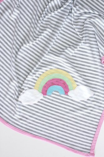Rainbow Cloud Blanket, Stroller Blanket for Baby Girl, Striped Blanket, Single Layer Blanket, Baby Girl Gift