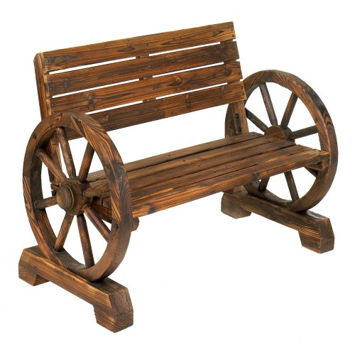 - Rustic Wood Design Home Garden Wagon Wheel Bench Decor