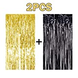 2PCS 3 X 8 Gold and Black Metallic Tinsel Foil Fringe Curtain Halloween Party Decoration
