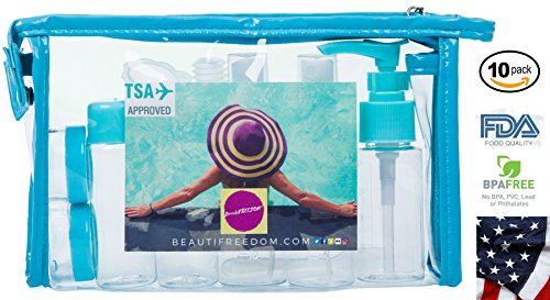 Only No Bottle - Airline Refillable Travel Bottles TSA Approved Set with Travel Bottle - Leak Proof - Can be Gift-wrapped - BPA-free with 3-1-1 Containers for Liquids (Shampoo, Perfume) Toiletry Bag
