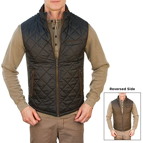 Thaddeus Mens RICK Quilted Reversible Full Zip Vest Black and Brown Size Large