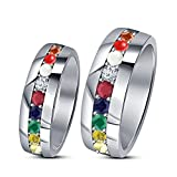TVS-JEWELS 925 Sterling Silver White Platinum Plated Round Cut Multi CZ Couple Ring Set For Engagement (5)