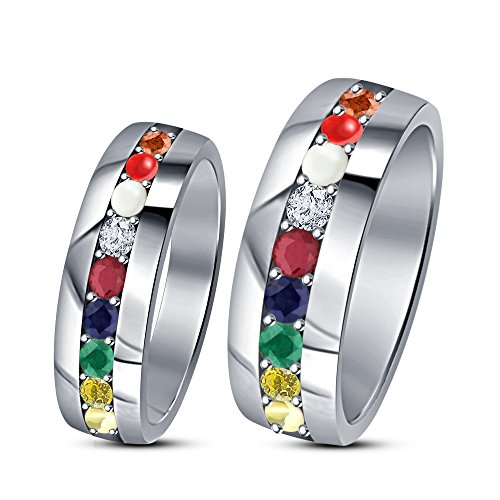 TVS-JEWELS 925 Sterling Silver White Platinum Plated Round Cut Multi CZ Couple Ring Set For Engagement (5) by TVS-JEWELS