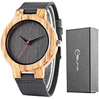Creative Wood Watch Mens Analog Minimalist Genuine Leather Band Strap Bamboo Nature Wood Wrist Watch (Black Dial)
