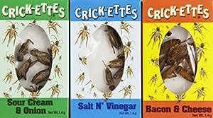 Crick-ettes Sampler Gift Pack- Sour Cream & Onion, Bacon & Cheese, & Salt N' Vinegar by Hotlix