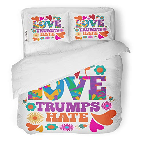 Semtomn Decor Duvet Cover Set Twin Size Colorful Love Trumps Hate Psychedelic Flowers and Hearts Text 3 Piece Brushed Microfiber Fabric Print Bedding Set Cover]()