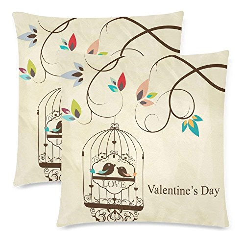 SPXUBZ St. Valentine's Day Greeting Card with Bird Bird Love Pillow Cover Home Decor Nice Gift Square Indoor Pillowcase Set of 2 (Two Sides)