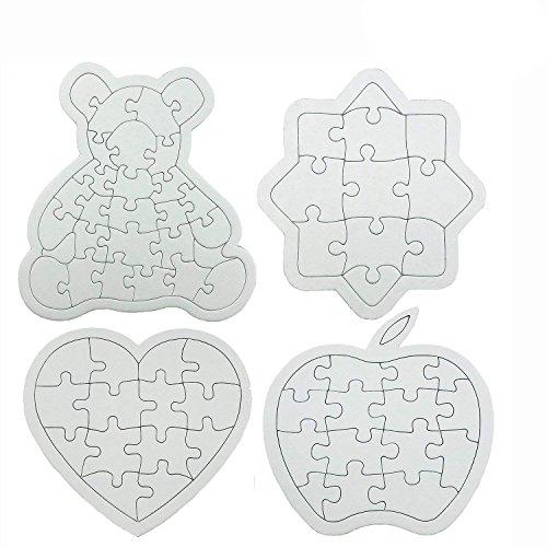 Nextnol 4PCS DIY Puzzle,68-Piece DIY Blank Puzzle,Four shapes,Apples(15-Piece), Sun flower(11-Piece), Bear(28-Piece),Love Heart Jigsaw Puzzle(14-Piece),Custom jigsaw puzzle,Blank jigsaw puzzle,White D]()