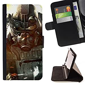 For Apple Iphone 4 / 4S Fall0ut Soldier Beautiful Print Wallet Leather Case Cover With Credit Card Slots And Stand Function