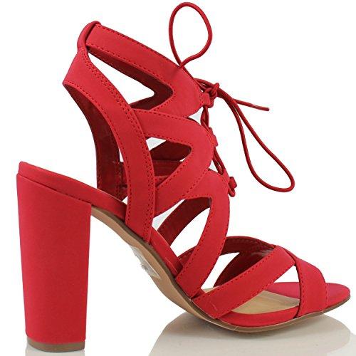 Delizioso Womens Mazie Stringate Gabbia Gladiator Block Tacco Sandalo Vestito, Nero, 7 M Us Rosso
