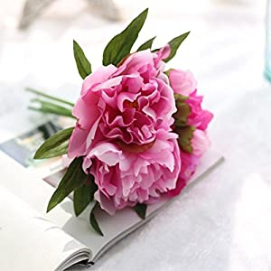 FYYDNZA Artificial Silk Flowers Peony Flower Bouquet Wedding Decoration Diy 6Pcs/Lot Fake Flowers Artificial Plants Flowers Home Decor 100