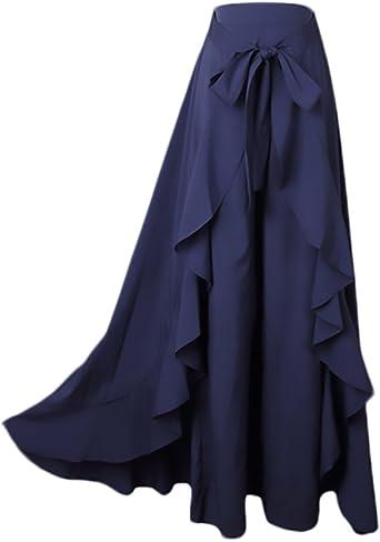 Mujer Falda Pantalon Elegantes Cintura Alta Falda Pantalon Largas ...