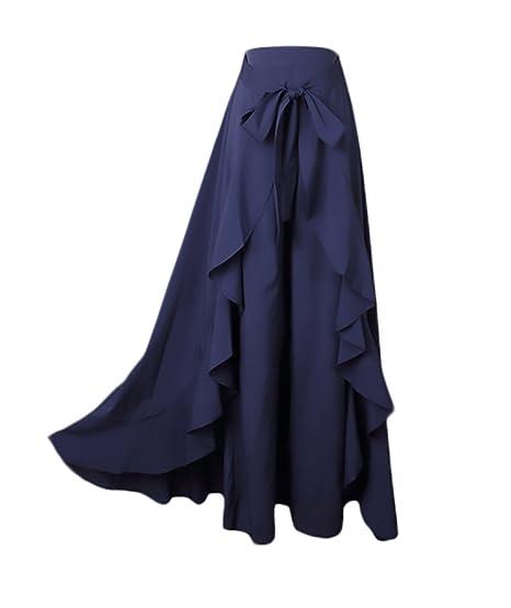 HX fashion Donna Gonna Lunga Eleganti A Vita Alta Puro Colore Irregolare con  Volant Gonna Pantalone Chic Unique Casual Gonne Lunghe Pantalone  Amazon.it   ... 3d4c48445617
