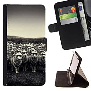 For Sony Xperia M5 E5603 E5606 E5653 Case , Cordero Ovejas Negro Blanco Viñeta País- la tarjeta de Crédito Slots PU Funda de cuero Monedero caso cubierta de piel