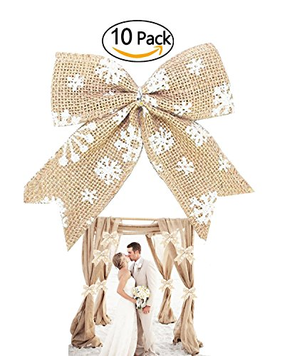 10 Pcs 5.5 Inches Simple Rustic Burlap Snowflake Bow Knot Bow Tie Wedding Ornaments Beach Grassland Wedding Arch Tableware Decoration Indoor Outdoor Christmas Tree Hangs