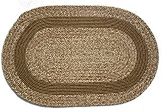 product image for Oval Braided Rug (3'x5'): Brown Tweed - Brown Band