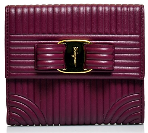 Salvatore Ferragamo Women's Sqaure Quilted Vara Bow Wallet (One Size, Vin) by Salvatore Ferragamo