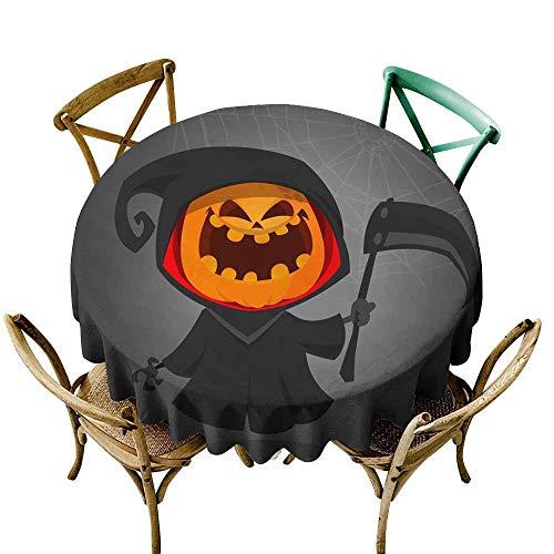 SKDSArts Wedding Banquet Table Halloween Grim Reaper with Pumpkin Head Vector Jack-o-Lantern Character Mascot D70,Printed Tablecloth -