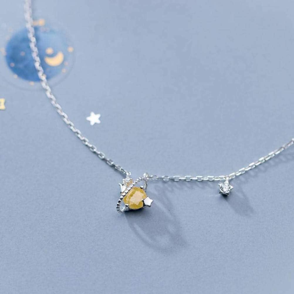 WOZUIMEI S925 Collar de Plata para Mujer Estilo Japonés Y Coreano Simple Pequeño Y Fresco Pequeño Planeta Roto Piedra Bloqueada Cadena Osicular Joyería Femeninaplata, Plata 925