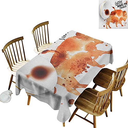 (kangkaishi Anti-Wrinkle and Anti-Wrinkle Polyester Long Tablecloth for Weddings/banquets Conceptual Design with Inverted Americano Cup Strong Animal Bull W60 x L126 Inch Burnt Sienna Black White)