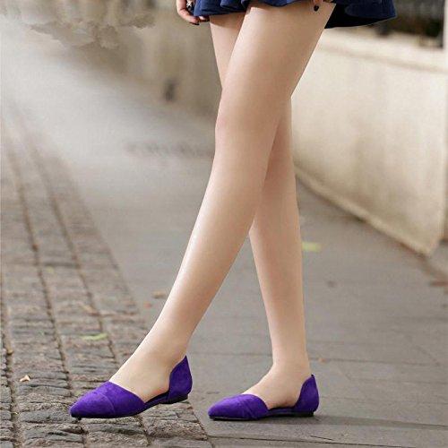 BaiLing Damen Sommer Sandalen/Schaffell Zeigte Flache Ferse/Mode Damen Kleine CN40 Größe Schuhe, Purple, CN40 Kleine - 8537ff