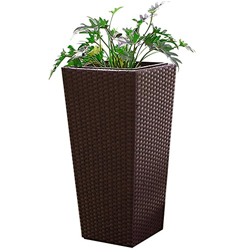 Tall Wicker Planter Brown  26quot Modern and Stylish Standing Flower and Plant Display Basket  Indoor or Outdoor Garden Decorative  Great for home lounge balconies entryways porch and patios