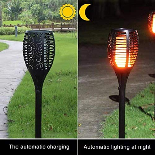ANGUO Solar Lights LED Torch Light Christmas Lights, Outdoor 96 LEDs Flame Light Waterproof Lawn Light Garden Intelligently Path Light, Gift for Christmas(2 Packs)