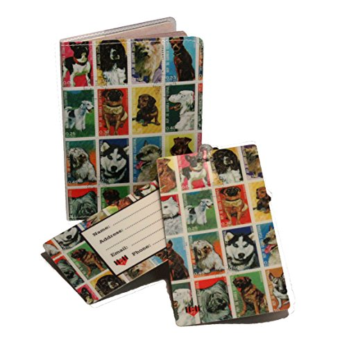 Dog Postage Stamps Travel Set- Passport Cover + 2 Large Luggage Tags - Dog Stamp Postage